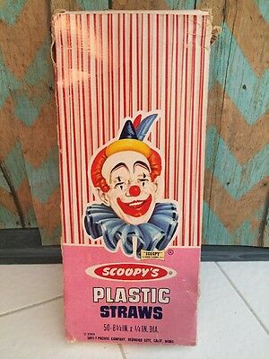 Vintage SCOOPY'S  Plastic Straws In Box