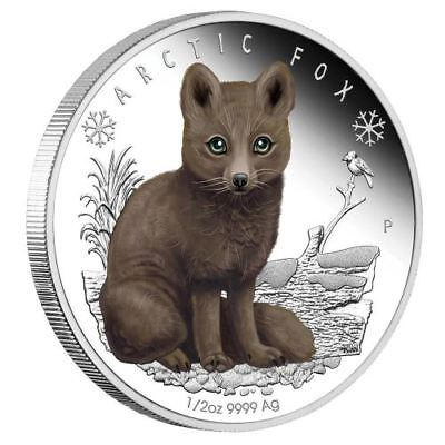 NEW Perth Mint Polar Babies - Arctic Fox 2017 1/2oz Silver Proof Coloured Coin