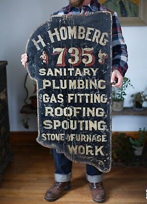 Early 1900s Antique ORIG Wooden Baltimore Trade Sign Folk Art AAFA Hand Painted