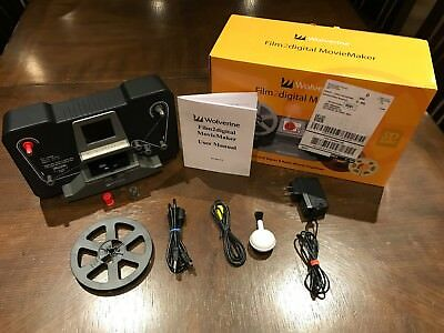 """Wolverine 8mm and Super8 Reels Movie Digitizer with 2.4"""" LCD, Black"""