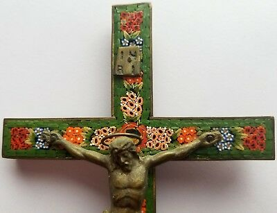 """Antique Cross/crucifix """"roma"""" Micro-Mosaic Highly Detailed Mint Condition"""