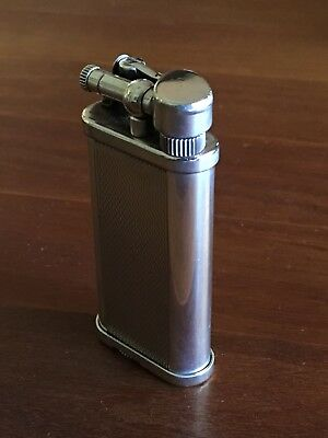 Vintage Sterling Silver Plated Dunhill Lighter W/Manual, Flints, and Fluid