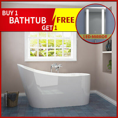 "Free Standing Acrylic Bath Tub Bathroom White ""Thin Edge""  Bar Shape Overflow"