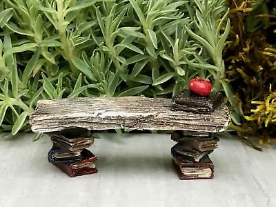 Miniature Dollhouse FAIRY GARDEN Accessories ~ Mini Library Bench with Books NEW