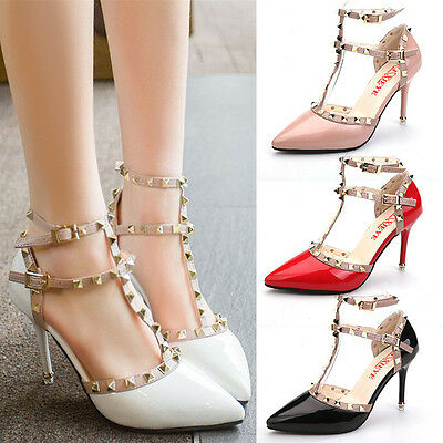 c996f695afe974 Sexy Women Party Shoes Rivets Strap Stiletto Pointed-toe High Heel Shoes  Sandals