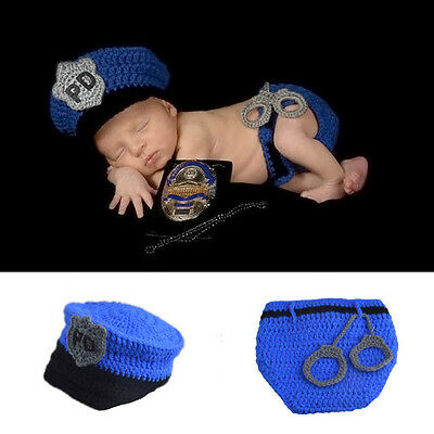 Kid Newborn Baby Crochet Knit Costume Photo Prop Outfits Police Gift