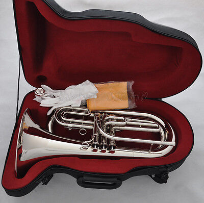 Professional Bb silver nickel Marching Baritone Horn with case mouthpiece