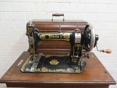 "Antique VINTAGE HAND CRANK  ""WHITE"" SEWING MACHINE C1900 MADE USA"