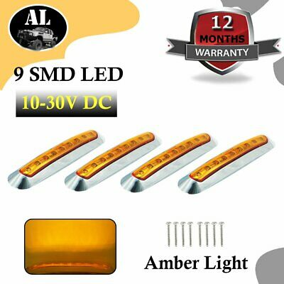 "4 x 6.7"" Amber Side Marker Indicator Light Car RV Trailer Truck Sealed 9 LED SMD"