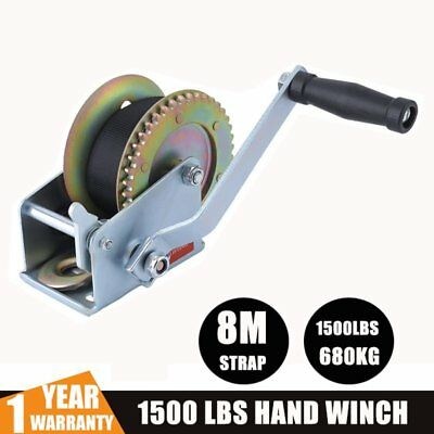 1500LBS Recovery Hand Winch 2-gear Synthetic Strap Boat Trailer 4WD 8m Strap QH