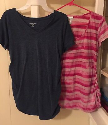 (2)Women's Maternity T-Shirts.Preowned.Size Large.Liz Lange&Motherhood.Ruched.
