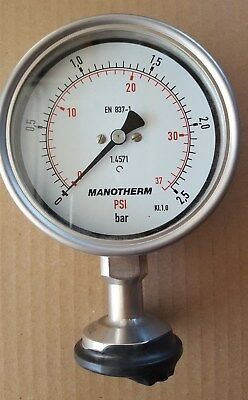 Manotherm Pressure gauge 2.5 Bar 37PSI Stainless steel 4 Inch dial