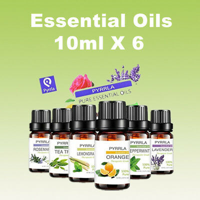 6 X 10ML Essential Oils -100% Pure Natural Aromatherapy Essential Oil Fragrances