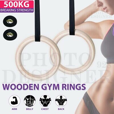 Wooden Gymnastic Olympic Rings Gym Pro Straps Training Fitness Exercise Workout