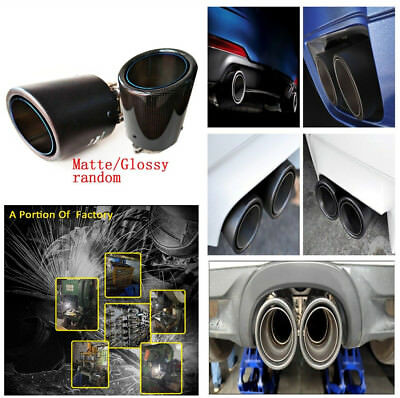 Durable Real Carbon Fiber Blue Burn Curl Auto Car Exhaust Pipe Muffler Tailpipe