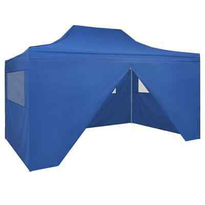 vidaXL Foldable Tent Pop-Up with 4 Side Walls 3x4.5m Blue Garden Gazebo Canopy