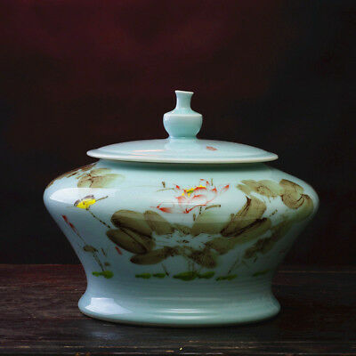 China Porcelain jingdezhen Pea green glaze Hand painting Lotus lid Tea canister