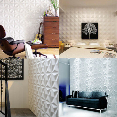4/12pcs White 3D Wall Panels Embossed Signboard Background Tiles Decor Wallpaper