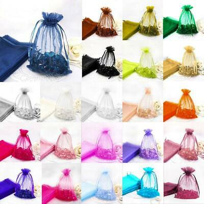100 Pcs Organza Gift Bags Jewellery Pouches XMAS Wedding Party Sweet Treat Candy