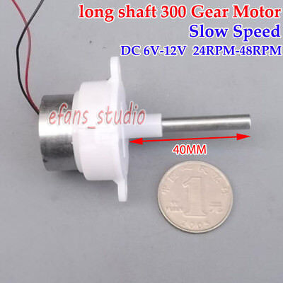 DC 6V~12V 48RPM Slow Speed Long shaft Micro 300 Gearbox Turbo Worm Gear Motor