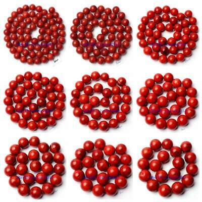 """4-24mm Pretty Natural Sponge Red Coral Round Shape Gems Loose Beads Strand 15"""""""