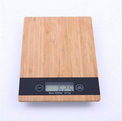 5kg Digital LCD Electronic Scale Wooden Food Weighing Kitchen Baking Scales