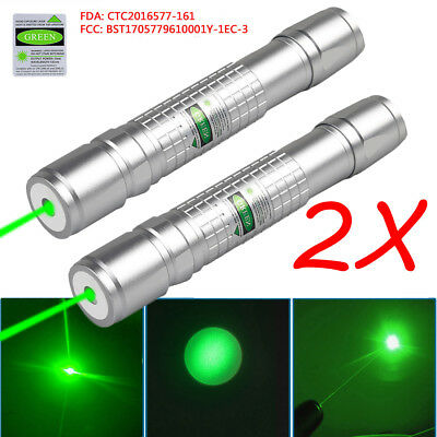 2PCS 50Miles 532nm 900 Green Laser Pointer Lazer Pen Beam Light  USA