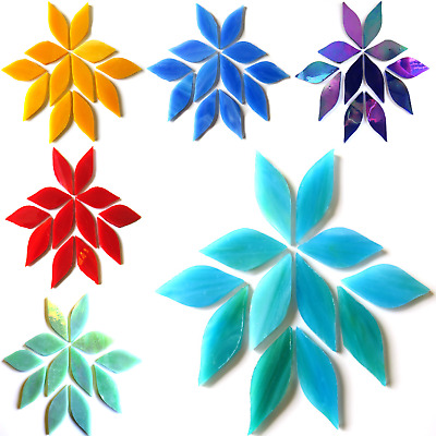 Small Stained Glass Petals for Mosaic Arts and Crafts - 50g Various Colours