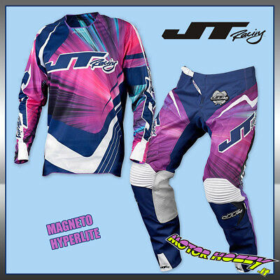 Completo Cross Enduro Jt Racing Hyperlite Magneto Blu Rosa Bianco Tg.36 Xl