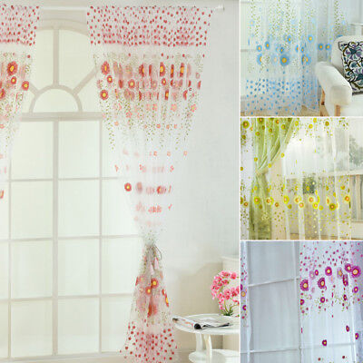 2M Sunflower Voile Curtain Window Flower Tulle Curtain For Living Room Kitchen