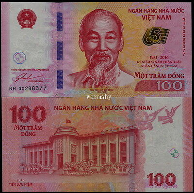Vietnam 2016 Commemorative Banknotes 100 Dong UNC 65th Anniversary