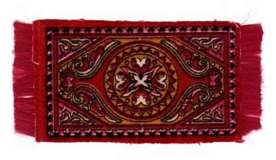 DOLLHOUSE  MINIATURE CIRCA 1910 VINTAGE FRINGED TAPESTRY RUG  Red, Pink, Green