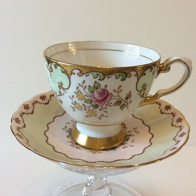 Vintage TUSCAN cup & saucer pink white green mismatched Hand Painted flowers