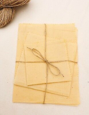 Unbleached/Undyed Cotton Beeswax Food Wraps, 100% Natural Ingredients, Lrg Sizes