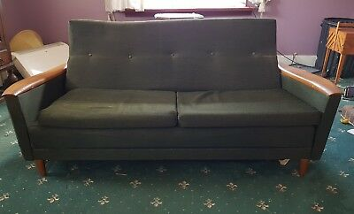 Mid Century Danish Inspired Vintage Retro Sofa Bed, pull out bed 50's 60's