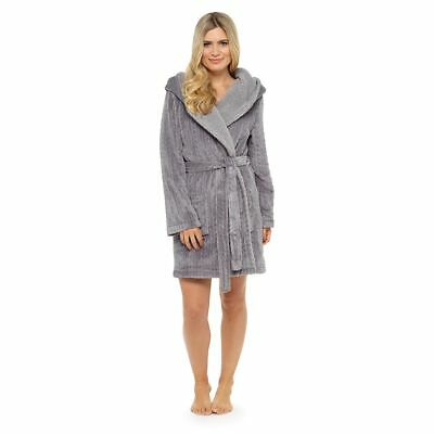 Ladies Embossed Snuggly Fleece Grey Cable Sherpa Hooded Bath Robe/Dressing Gown