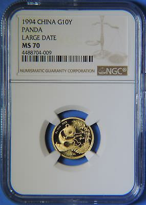 1994 China Large Date 1/10 oz .999 Gold Panda 10 Yuan Coin NGC Graded MS70