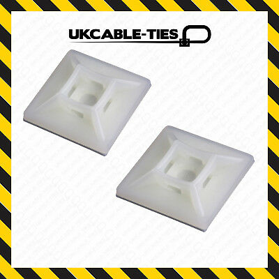 100x Self Adhesive Cable Tie Mounts 28mm x 28mm Clips for Wire,Conduit, Tubing