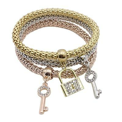3x Set Di Braccialetto Rotondo Con Charms Di Stilo Chaive Serratura