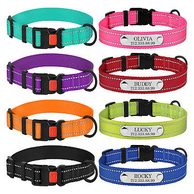 Nylon Dog Collar Personalized Safety Reflective Collars for Dogs Puppy S M L XL