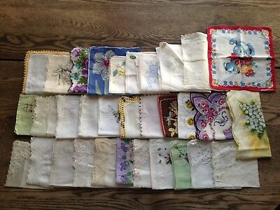 Lot of 32 Vintage Hankies Embroidered Lace Crocheted Floral Monogram Wedding