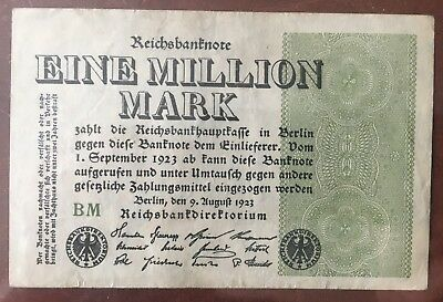 "Banknote  1 Million Mark 1923 Reichsbanknote  "" Deutschland """