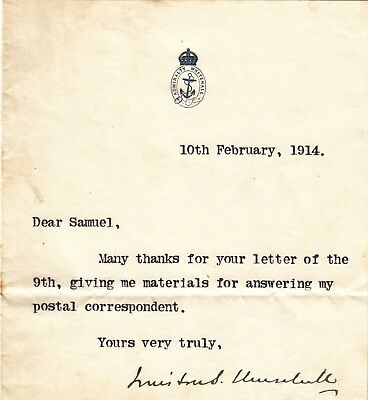 Winston S. Churchill typed note signed autograph 1914
