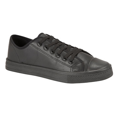 Boys Girls Junior Trainer Faux Leather Lace Up Trainers Youth Shoes Sizes