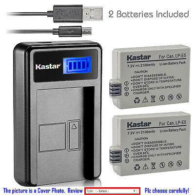 Kastar Battery LCD Charger for LP-E5 & Canon EOS Rebel T1i, EOS 450D, EOS 500D