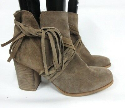 de19b4a9bc2 New Coolway Women s Luddie Suede Leather Fringe Taupe Ankle Boots US 9 EU 40