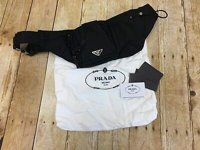 Authentic Prada Fanny Pack, Black Nylon, Features 3 Pockets & Drink Holder