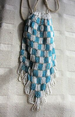Antique Beaded draw string flapper bag purse Made in Czechloslavakia  Art Deco