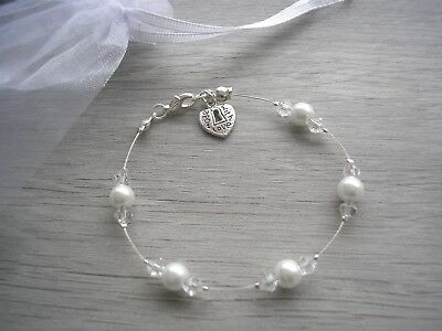 11c Handmade Bracelet Pearl & Crystal Love Heart Charm Bridesmaids Wedding Bride