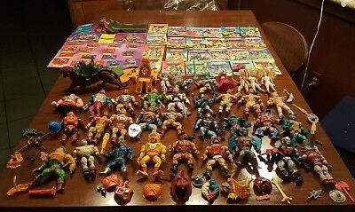 Vintage 1980s BIG LOT He Man action figures and mini comic books and assesories